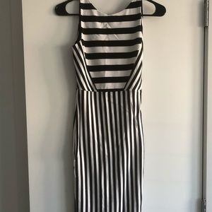 Zara Bodycon Striped Midi Dress